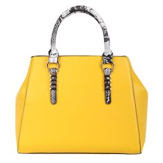 Hello, yellow! Go bright with the Stella Reptile Tote in Mustard with animal print accents.