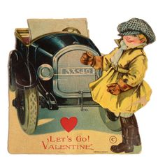 Vintage Valentine Card circa 1920, Figure Pivots At Waist, Made In Germany