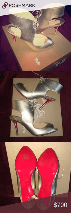 Christian Louboutin Top Nic Nappa Laminata heels Authentic, brand new, never worn. 'Platine' color which is like a champagne gold. 85mm heel height. Sexy lace up ankle strap. Size 37. Christian Louboutin Shoes Heels