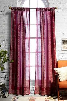 Foil Block-Print Curtain - Urban Outfitters Inspiration for curtains, stencil w/ gold paint on plum voile drapes paired with in expensive bamboo blinds. MUCH less $$$ and the exact color we're looking for!