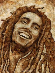 """Bob Marley pic created from used joint ends or roaches. """"Creative way to dispose of roaches, man"""" Tommy Chong"""