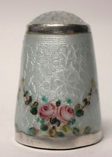 Gorgeous Sterling Silver & Enamel Floral Thimble w/Exceptional Guilloche Pattern....Beautiful!!!!
