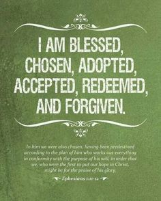 I am blessed, chosen, adopted, accepted, redeemed, & forgiven. Eph.1:11-12
