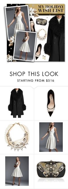 """""""The Holiday Wish List With Neiman Marcus: Contest Entry"""" by jgee67 ❤ liked on Polyvore featuring Sofia Cashmere, Miu Miu, Lulu Frost, Carmen Marc Valvo, Neiman Marcus, Judith Leiber and NMgifts"""