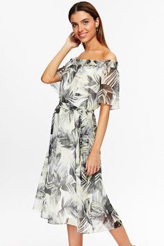 aa5ec2c5d2e07 Lemon Midi Palm Print Bardot Dress