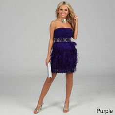 7dc6288665 Issue New York Women s Strapless Feather Trimmed Sequin Evening Dress -  Overstock™ Shopping - Top
