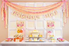"""Pucker Up for Your Sweetie"" Bridal Shower :: Piggy Bank Parties {featured on Kara's Party Ideas} #paperplatebackdrop"