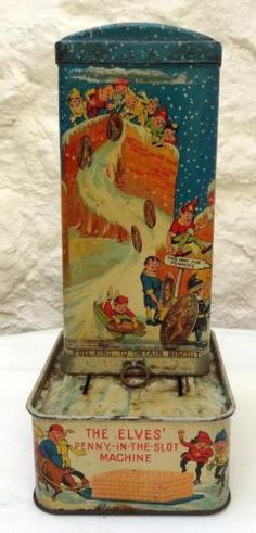 ANTIQUE-HUNTLEY-amp-PALMERS-034-ELVES-034-BISCUIT-TIN-Cr-1936