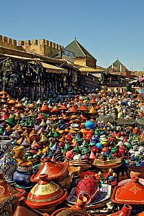 Morocco is famous for it's delicious tagine recipes. If you ever need a tagine - Meknes is a good place to pick one up Places Around The World, Oh The Places You'll Go, Places To Travel, Around The Worlds, Riad, Moroccan Style, Moroccan Design, Marrakesh, World Of Color