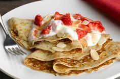 Strawberry, almond and caramel pancakes recipe - goodtoknow
