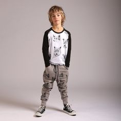 Littlehorn super groovy trackies in a warm and cozy tone of grey with black design. Super comfy, easy to wear and oh so practical to mix and match with in a lit Stylish Boy Clothes, Stylish Boys, Mix N Match, Warm And Cozy, Slate, Boy Outfits, Wolf, Track, Punk