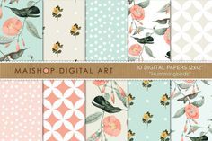 Check out Digital Paper - Hummingbirds by Maishop Digital Art on Creative Market