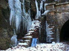 The Paw Paw C&O Canal tunnel during a spring snow and ice melt -- mile long tunnel built in the early using bricks -- about 40 minutes form my home. Great place to mountain bike. Great Places, Beautiful Places, Ice Melt, Stuff To Do, Things To Do, Spring Snow, Paw Paw, Snow And Ice, Bricks