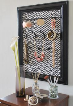Jewelry Organizer  (Black Greek Key) by ShopSuiteV on Etsy