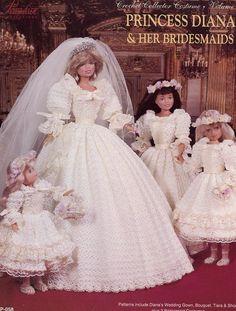 Princess Diana & Her Bridesmaids fits Barbie Paradise 47 Crochet PATTERN HTF OOP
