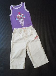 9d57feea Lot of 2 Toddler girl separates: One pair pants and one sleeveless top/shirt.  Toddler girls' purple tank top/shirt from Faded Glory, which features an  ice ...
