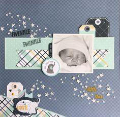 Twinkle, Twinkle Little Star Scrapbook Designs, Scrapbook Sketches, Scrapbooking Layouts, Baby Girl Scrapbook, Baby Scrapbook Pages, Baby Boy Cards, Rock A Bye Baby, Baby Album, Baby Keepsake