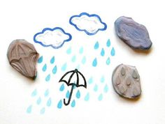 Lovely handmade stamps by Green Garden Stamps - Rainy Day