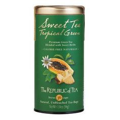 "Tea used for Panera Iced Green Tea  ""The tea is the Republic of Tea Passion Fruit Papaya flavored green tea. The Panera website list the ingredients as: Water, tea concentrate (pure water, evaporated cane juice, green tea, plant extracts [color], natural flavors, citric acid).   So, I would try the tea and flavor it with sugar and lemon or lime juice to get to the flavor you are looking for."""