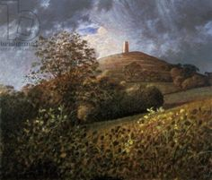 """""""Glastonbury Tor, Somerset"""" by James Lynch, a Painter of the English Landscape in the Ancient Medium of Egg Tempura . Nature Paintings, Landscape Paintings, Landscapes, James Lynch, Glastonbury Abbey, Dry Brush Painting, Salisbury Cathedral, Michael Church, American Poets"""