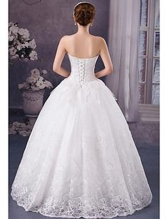 Ball Gown Sweetheart Floor-length Wedding Dress (Lace) – USD $ 179.99