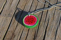 Watermelon round slice pendant by Hybridary on Etsy, Watermelon, Crochet Earrings, My Etsy Shop, Pendant Necklace, Trending Outfits, Unique Jewelry, Handmade Gifts, Shopping, Vintage
