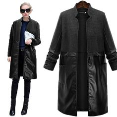 Large size women trench coat stand collar PU mosaic long-sleeved stitching wool Loose long coat woman 5XL Fat MM windbreaker