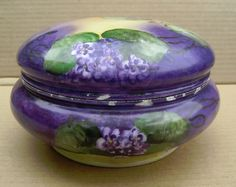 Limoges large porcelain powder box with hand-painted Violets
