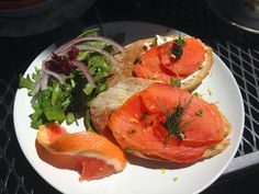 A Breakfast Crostini with Smoked Salmon, Capern, Goat Cheese - at the Hazel Tea Room