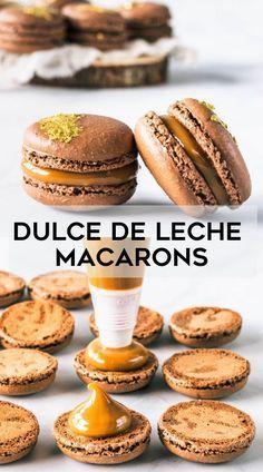 Dulce de Leche Macarons – Pies and Tacos Tart Recipes, Gourmet Recipes, Baking Recipes, Cookie Recipes, Dessert Recipes, Gourmet Foods, Gourmet Desserts, Chocolate Recipes, Macarons Chocolate