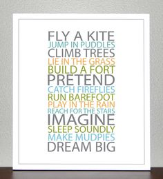 BE A KID  Gray Blue Green Yellow 11x14  Print by CreativeWildChild, $26.00