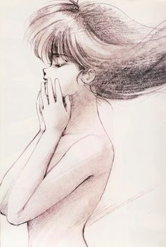 "Sketch of Madoka Ayukawa from ""Kimagure Orange Road"" series by manga artist Akemi Takada."
