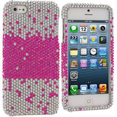 Pink Stream Bling Rhinestone Case Cover for Apple iPhone 5 / 5S