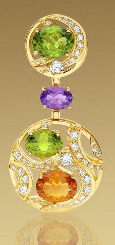Pendentif Bvlgari en diamant et pierres précieuses