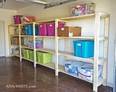 Free plans to build garage shelving using only 2x4s. Easy and inexpensive, but sturdy and... even the shelf is 2x4