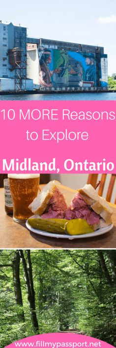 Midland is such a wonderful town that should be visited by all who come to Ontario for a visit! See our additional guide of things to do and eat here! Just 2 hours north of Toronto, sink in to some mile-high deli sandwiches, gourmet butter tarts, organic coffee, and fun events. #midlandontario #ontariotravel #dinosdiner #30000islands