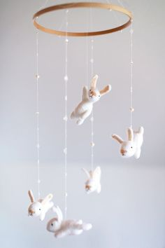 custom nursery mobile with an EXTRA white bunny  by MistrSandman  Nursery decor Baby Kids room decoration Hamdmade mobiles