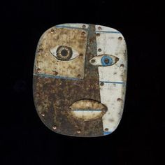 """Judith Hoyt,   One Blue Eye  Brooch in found metals, copper, and stainless steel. 2.25 x 2"""""""
