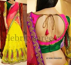 Yellow Crepe Half Saree | Saree Blouse Patterns