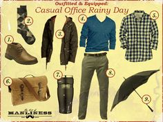 Casual Office Rainy Day  This entire outfit is terrific.