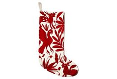 """17"""" Hand Embroidered Stocking, Red"""
