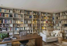Home Library Rooms, Home Library Design, Home Libraries, Home Office Design, Home Interior Design, House Design, Small Home Offices, Home Office Storage, Office Organization