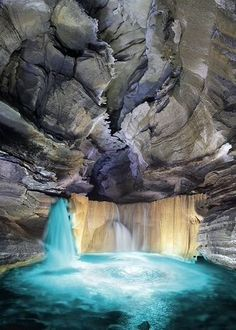 Waterfall at the Rocky River Cave in Tennessee.