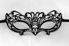 Blace lace laser cut metal masquerade mask New by Stefanelbeadwork
