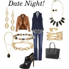 """Date Night"" by jfedrigo on Polyvore Kimberly Drop Earings Alegra Necklace  Sanibel Necklace Gilded Arrow Ring Adelina Cuff Moxie Bracelet Christina Link Bracelet Paris Market Tote"