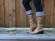 Wool houndstooth boot cuffs