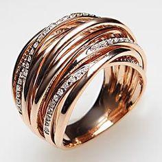 ESTATE COCKTAIL RING WEAVE MOTIF DIAMOND SOLID 14K ROSE GOLD