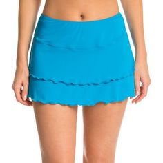 Sporti Solid Polyester Cover Up Swim Skirt ($9.99) ❤ liked on Polyvore featuring swimwear, cover-ups, bright blue, swim cover up, swim skirt, sporti, ruffled swim skirt and ruffle bikini bottom