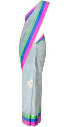 Grey chanderi sari by EKAYA. Shop at http://www.perniaspopupshop.com/whats-new/ekaya-17