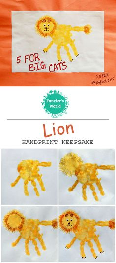 Directions for making Handprint Lion Keepsake Craft with '5 for Big Cats' message.